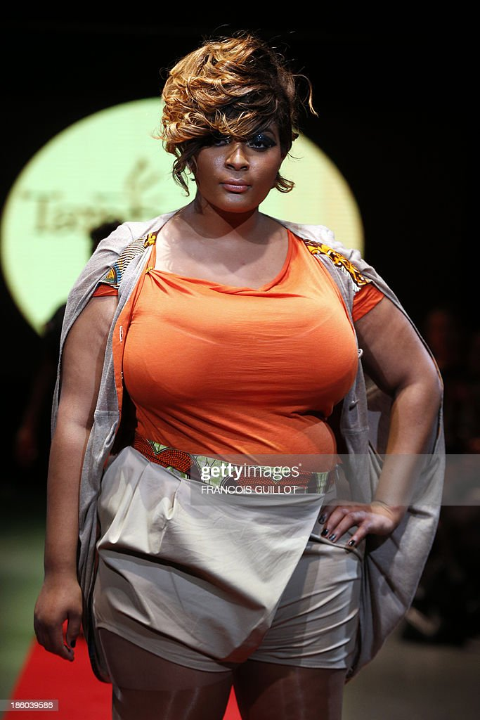 A model presents a creation by 'Tamboo Bamboo' during the first Pulp fashion week, on October 27, 2013 in Paris.