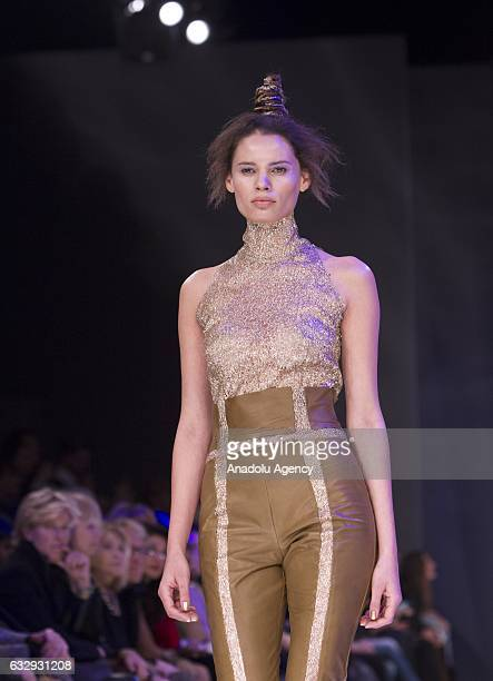 A model presents a creation by the Italian fashion designer Sabrina Persechino's SpringSummer 2017 collection during the AltaRoma fashion show in...