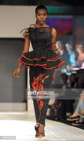 A model presents a creation by Valerie David during the Lagos Fashion and Design Week on October 23 2013 The fourday Lagos Fashion and Design Week...