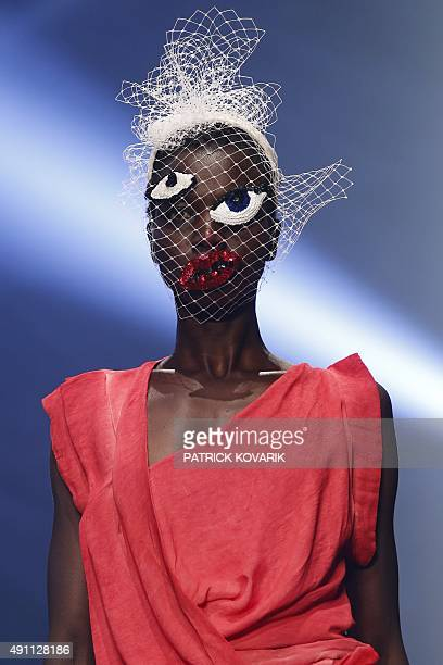A model presents a creation by Vivienne Westwood during the 2016 Spring/Summer readytowear collection fashion show on October 3 2015 in Paris AFP...