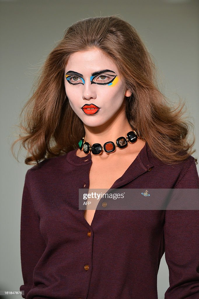 A model presents a creation by Vivienne Westwood Red Label during the 2013 Autumn/Winter London Fashion Week in London on February 17, 2013.