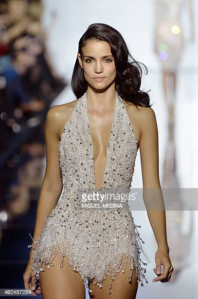 A model presents a creation by Zuhair Murad during the 2015 Haute Couture SpringSummer collection fashion show on January 29 2015 in Paris AFP PHOTO...