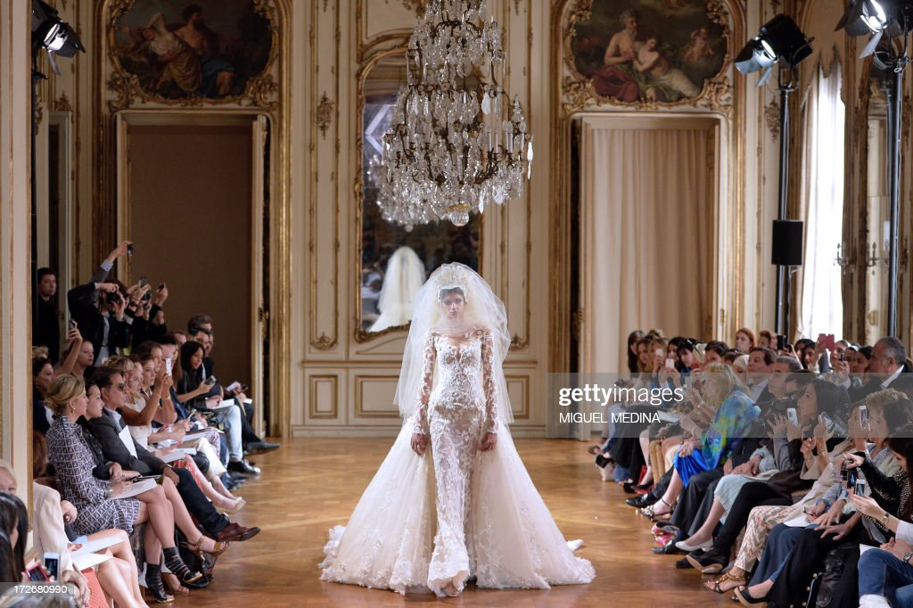 A model presents a creation by Zuhair Murad during the Haute Couture Fall-Winter 2013/2014 collection show, on July 4, 2013 in Paris.