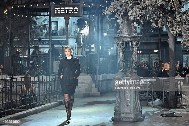 A model presents a creation during the 12th Chanel Metiers dArt show 'ParisRome' an annual event to honor craftsmanship that artisan partners bring...