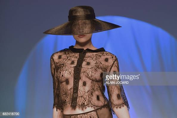 A model presents a creation during the French Lingerie Show 'Lingerie Mon Amour' by Lingerie Francaise in Paris on January 22 2017 The French...