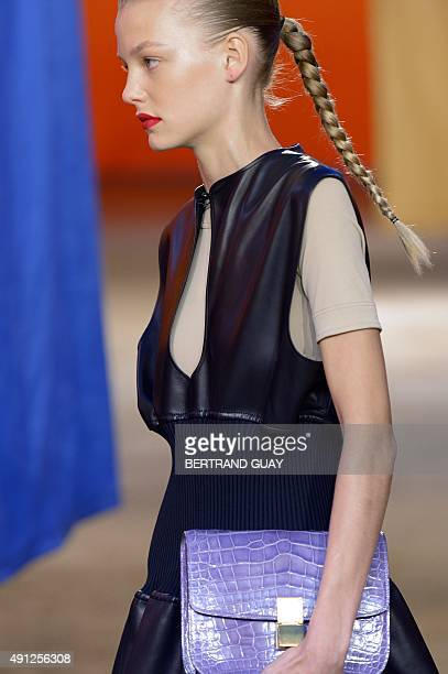 A model presents a creation for Celine during the 2016 Spring/Summer readytowear collection fashion show on October 4 2015 in Paris AFP PHOTO /...
