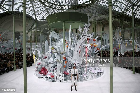 A model presents a creation for Chanel during the 2015 Haute Couture SpringSummer collection fashion show on January 27 2015 at the Grand Palais in...