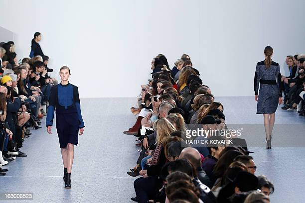 A model presents a creation for Chloe during the Fall/Winter 20132014 readytowear collection show on March 3 2013 in Paris AFP PHOTO/PATRICK KOVARIK