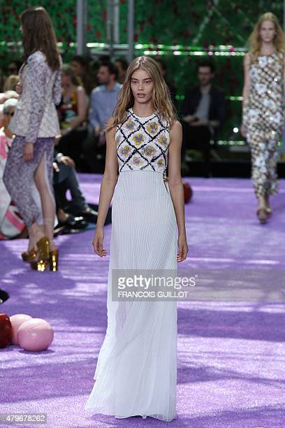 A model presents a creation for Christian Dior during the 20152016 fall/winter Haute Couture collection fashion show on July 6 2015 in Paris AFP...