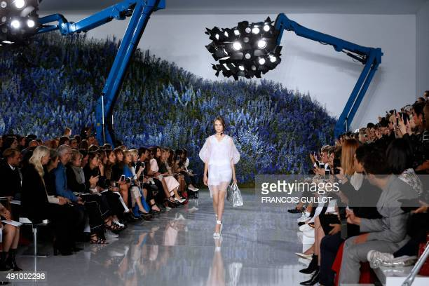 A model presents a creation for Christian Dior during the 2016 Spring/Summer readytowear collection fashion show on October 2 2015 in Paris AFP PHOTO...