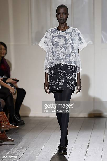 A model presents a creation for Devastee during the 20152016 fall/winter readytowear collection fashion show on March 3 2015 in Paris AFP PHOTO /...