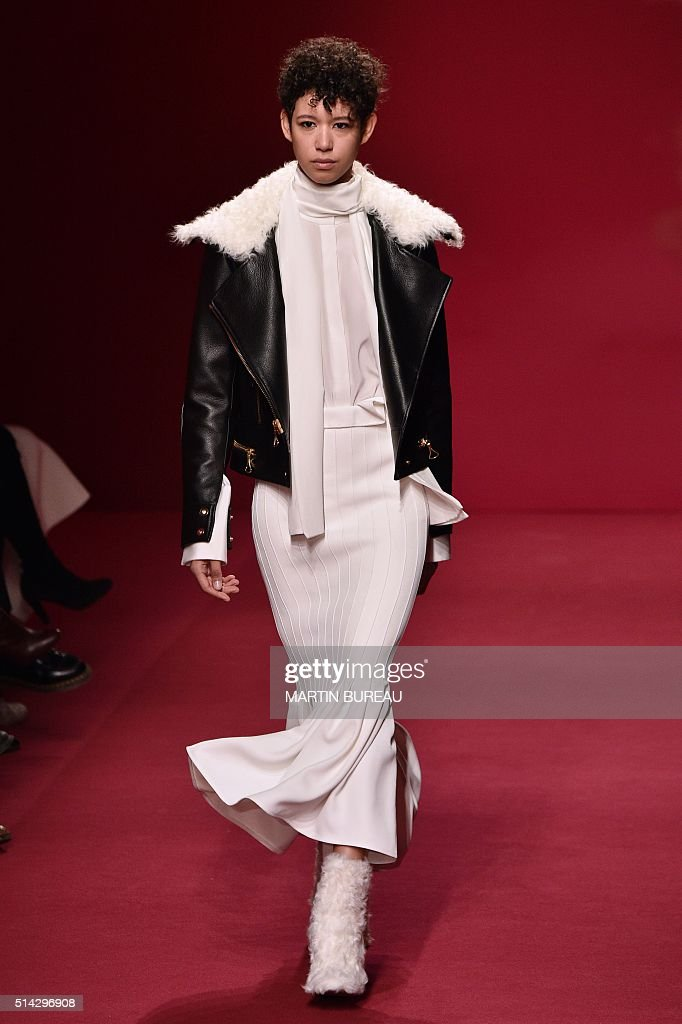 A model presents a creation for Ellery during the 20162017 fall/winter readytowear collection fashion show on March 8 2016 in Paris AFP PHOTO /...