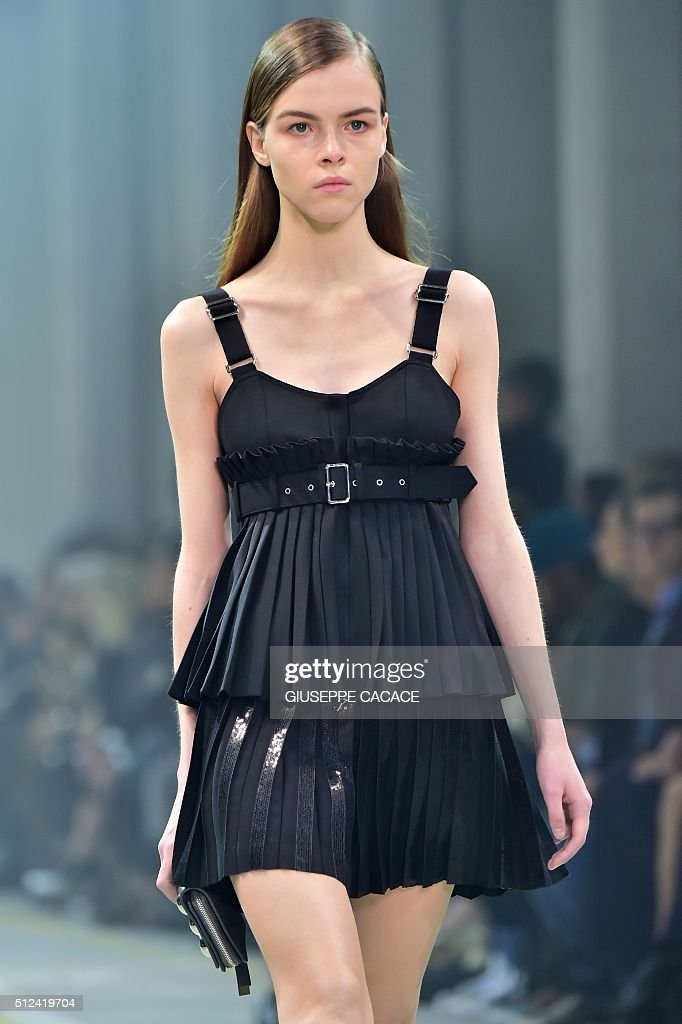 A model presents a creation for fashion house Diesel Black Gold during the Autumn / Winter 2016 Milan Fashion Week on February 26 2016 AFP PHOTO /...