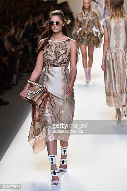 A model presents a creation for fashion house Fendi during the 2017 Women's Spring / Summer collections shows at Milan Fashion Week on September 22...
