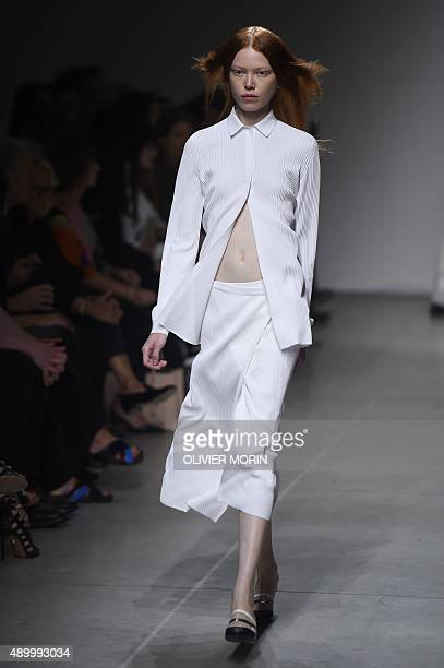 A model presents a creation for fashion house Iceberg during the women Spring / Summer 2016 Milan's Fashion Week on September 25 2015 in Milan AFP...