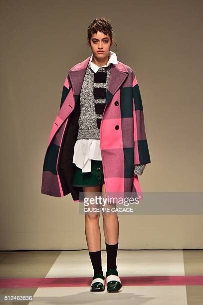 A model presents a creation for fashion house Iceberg during the Women Autumn / Winter 2016 Milan Fashion Week on February 26 2016 AFP PHOTO /...