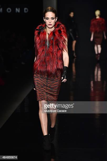 A model presents a creation for fashion house John Richmond at the women Fall / Winter 2015/16 Milan's Fashion Week on March 1 2015 AFP PHOTO /...