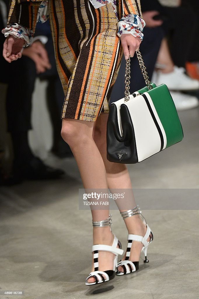 A model presents a creation for fashion house Prada during the women Spring / Summer 2016 Milan's Fashion Week on September 24 2015 in Milan AFP...