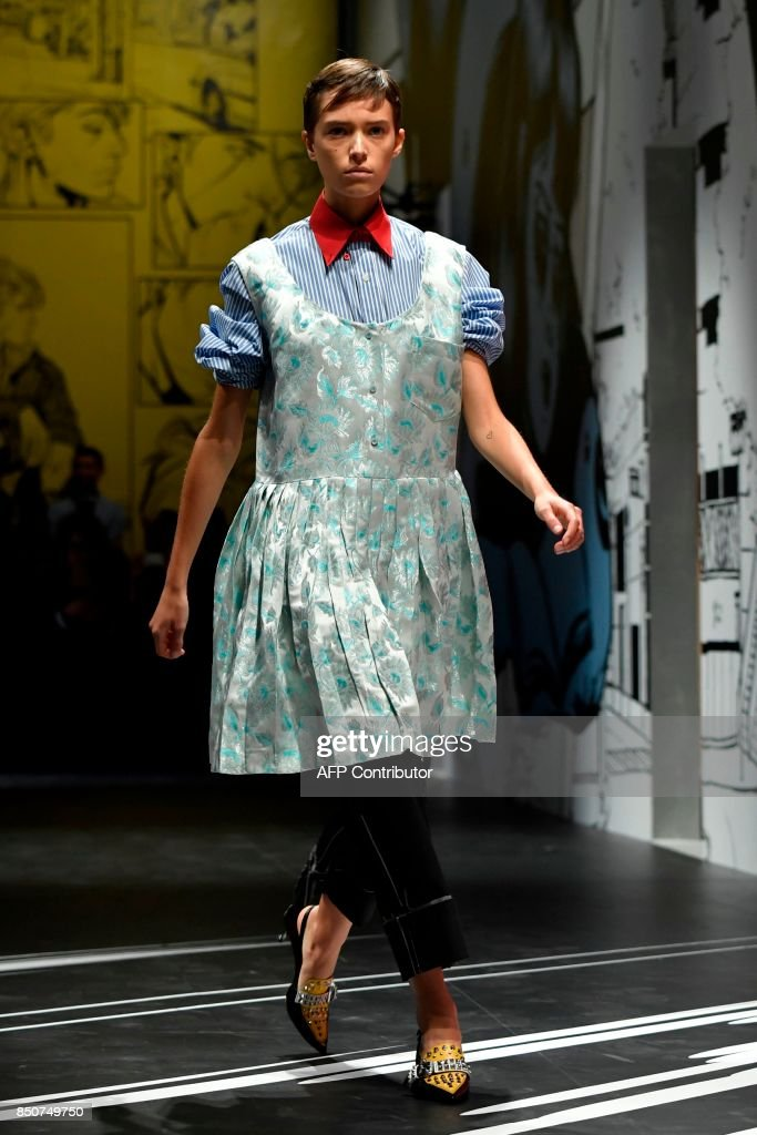 model-presents-a-creation-for-fashion-house-prada-during-the-womens-picture-id850749750