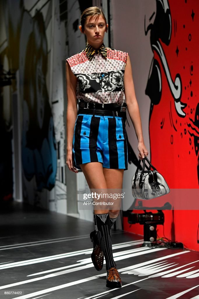 model-presents-a-creation-for-fashion-house-prada-during-the-womens-picture-id850774422