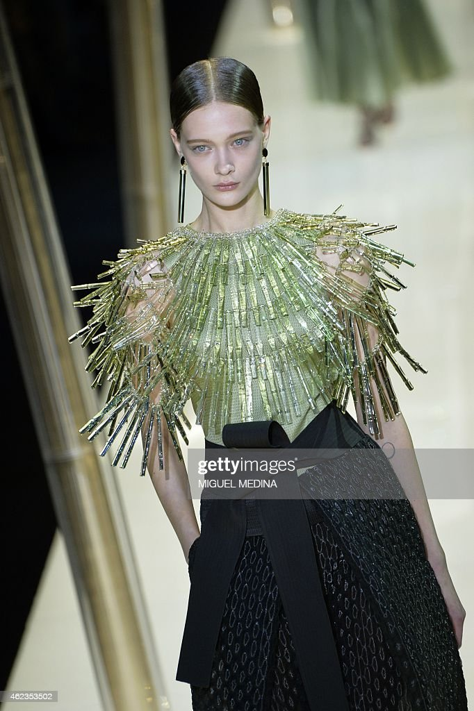 A model presents a creation for Giorgio Armani Prive during the 2015 Haute Couture SpringSummer collection fashion show on January 27 2015 in Paris...