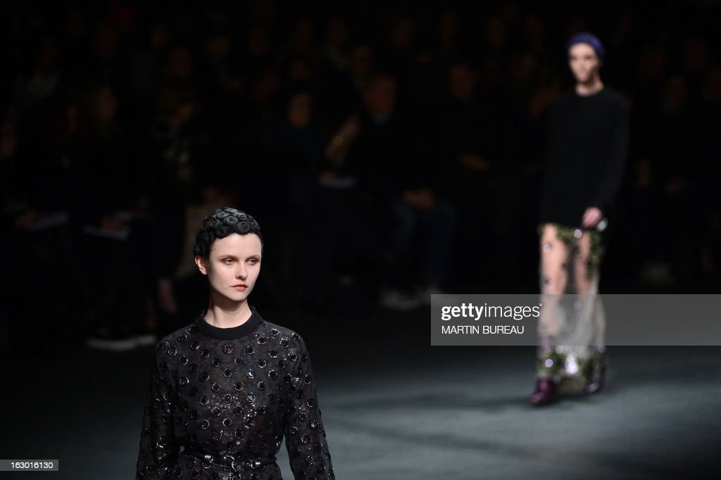 A model presents a creation for Givenchy during the Fall/Winter 2013-2014 ready-to-wear collection show, on March 3, 2013 in Paris.