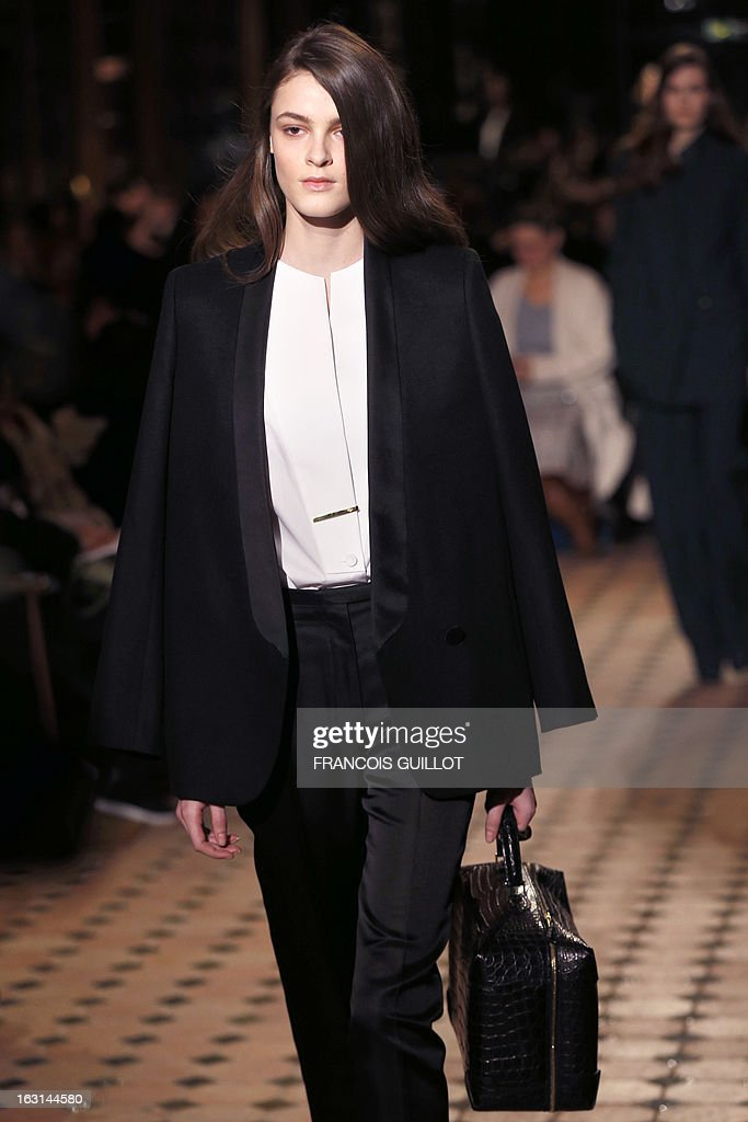 A model presents a creation for Hermes during the Fall/Winter 2013-2014 ready-to-wear collection show, on March 5, 2013 in Paris.