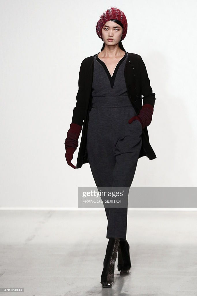A model presents a creation for John Galliano during the 2014/2015 Autumn/Winter ready-to-wear collection fashion show, on March 2, 2014 in Paris.