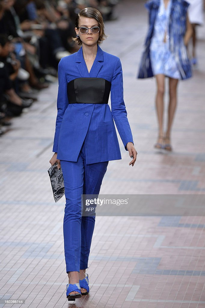 A model presents a creation for Kenzo during the 2014 Spring/Summer ready-to-wear collection fashion show, on September 29, 2013 in Paris.