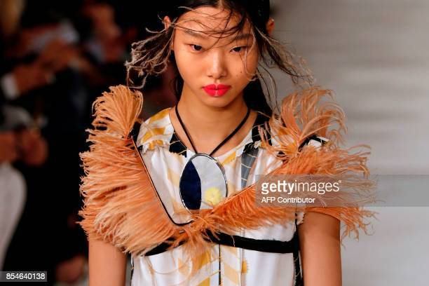 A model presents a creation for Maison Margiela during the women's 2018 Spring/Summer readytowear collection fashion show in Paris on September 27...