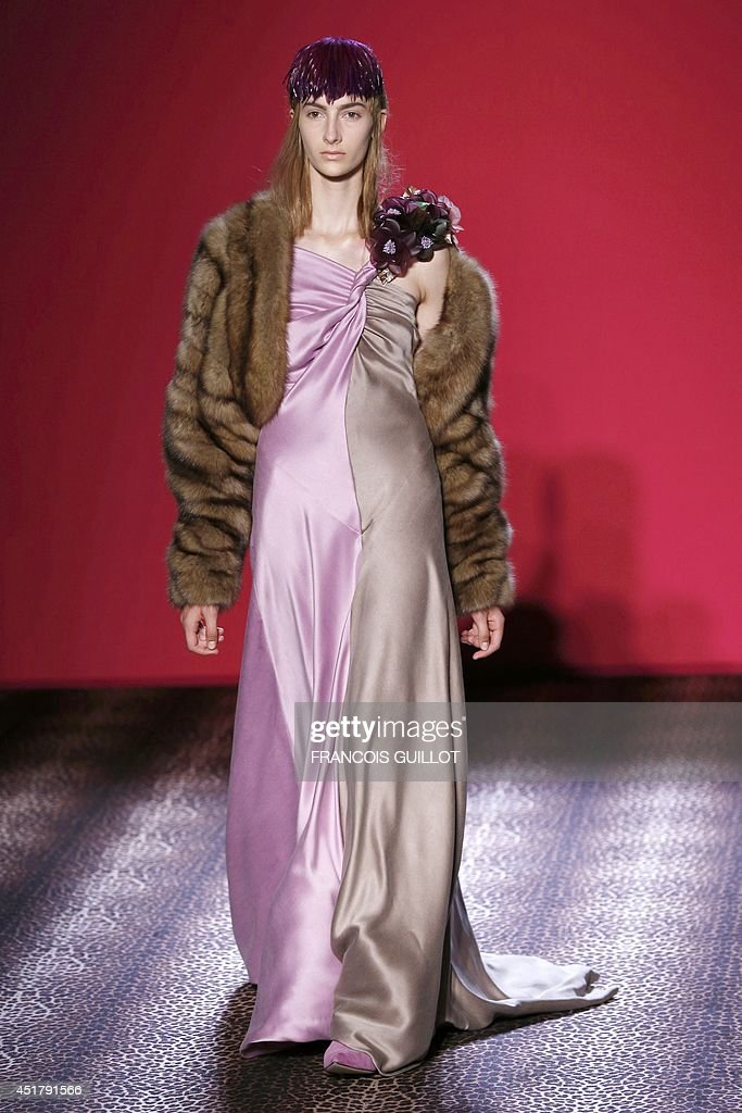 A model presents a creation for Schiaparelli during the 2014/2015 Haute Couture Fall-Winter collection fashion show on July 7, 2014 in Paris.