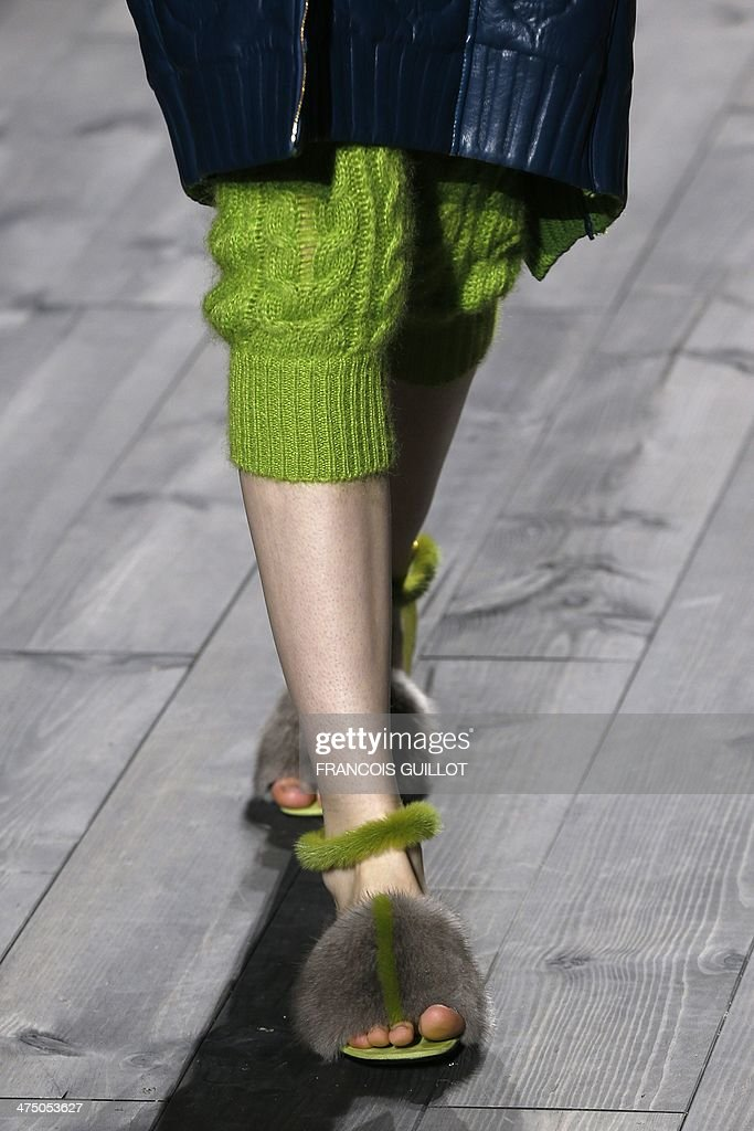 A model presents a creation for Vionnet during the 2014/2015 Autumn/Winter readytowear collection fashion show on February 26 2014 in Paris AFP PHOTO...