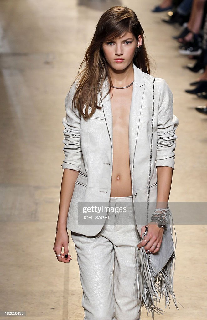 A model presents a creation for Zadig & Voltaire during the 2014 Spring/Summer ready-to-wear collection fashion show, on October 2, 2013 in Paris.