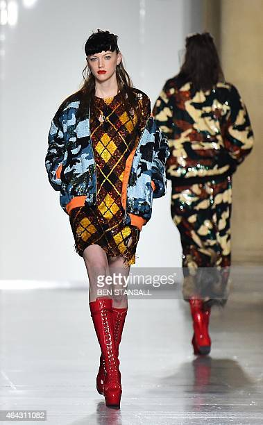 A model presents a creation from British fashion label Ashish during the 2015 Autumn / Winter London Fashion Week in London on February 24 2015 AFP...