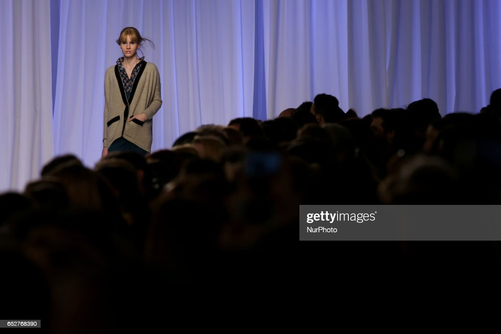 A model presents a creation from the French fashion designer Christophe Sauvat Fall/Winter 2017/2018 collection during the Lisbon Fashion Week - ModaLisboa on March 12, 2017 in Lisbon, Portugal.