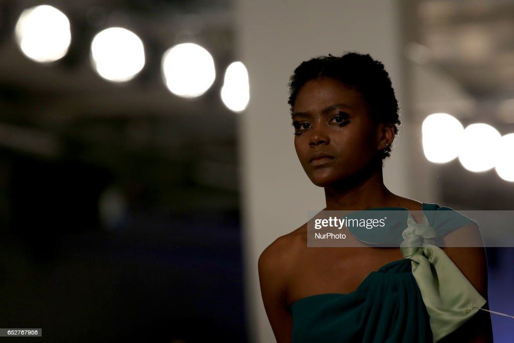 A model presents a creation from the Portuguese fashion designer Dino Alves Fall/Winter 2017/2018 collection during the Lisbon Fashion Week - ModaLisboa on March 12, 2017 in Lisbon, Portugal.