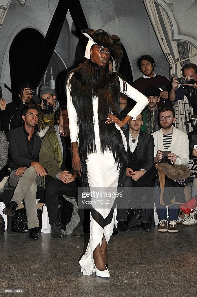 A model presents a creation made with hair by Charlie Le Mindu, hairdresser and designer, during a 'Haute Coiffure' fashion show during Spring/Summer 2013 Haute-Couture as part of Paris Fashion Week on January 21, 2013 in Paris, France.