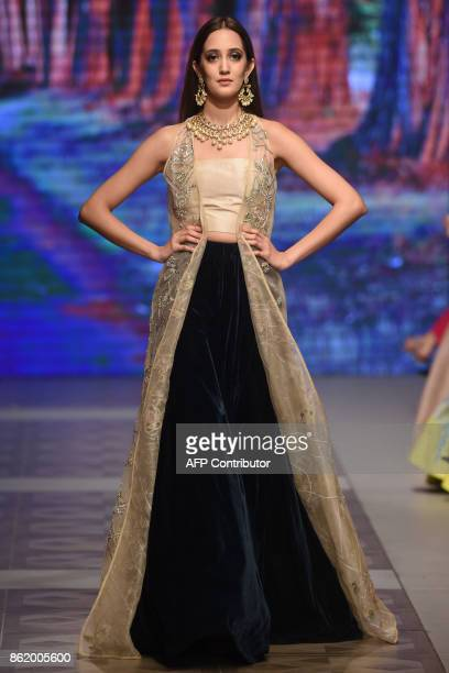 A model presents a creation of a Pakistani designer Zuria during the final day of the Pakistan Fashion Design Council LOreal Paris Bridal Week in...