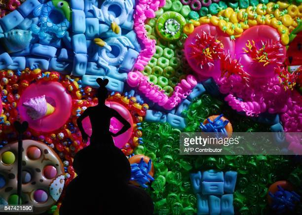 TOPSHOT A model presents a creation of Agatha Ruiz de la Prada' Spring/Summer 2018 collection during the Madrid Fashion Week in Madrid on September...
