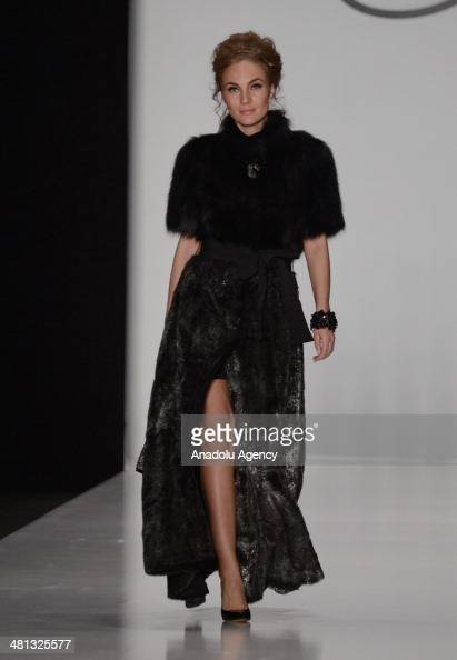 A model presents a creation of Igor Gulyaev's 'MercedesBenz Presents' collection for 2014/2014 AutumnWinter during the MercedesBenz Fashion Week...