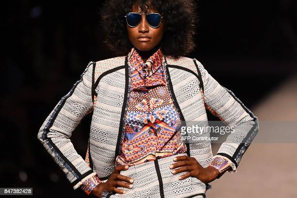 TOPSHOT A model presents a creation of Ion Fiz's Spring/Summer 2018 collection during the Madrid Fashion Week in Madrid on September 15 2017 / AFP...