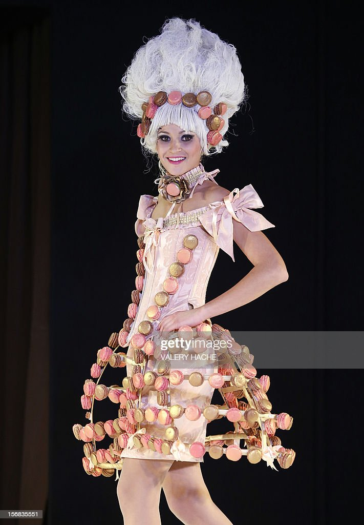 A model presents a dress made of chocolate on November 22, 2012 in Cannes, Southeastern France, during a fashion show for the inauguration of Cannes international chocolate fair. The event runs until November 25, 2012.