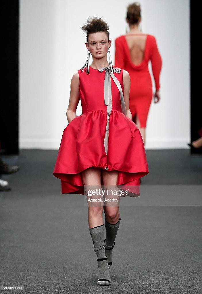 Model presents a Spring-Summer 2016 creation by An Margo, within the Madrid Fashion Week, in Madrid, Spain on February 8, 2016.