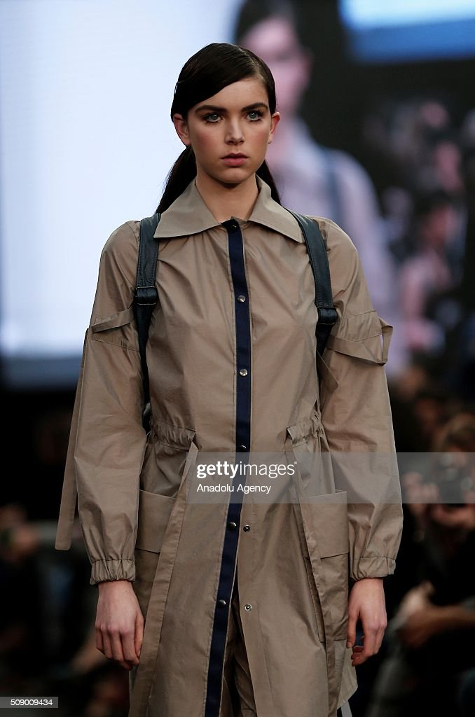 Model presents a Spring-Summer 2016 creation by Moises Nieto by Ecoembes, within the Madrid Fashion Week, in Madrid, Spain on February 8, 2016.