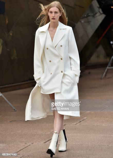 A model presents creation of Australian designer Dion Lee at the Opera House in Sydney on May 14 on the first day of the Australian Fashion Week /...