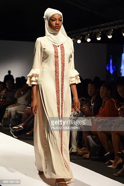 A model presents creations designed by House of Kaya during the Lagos Fashion and Design Week on October 31 2015 The yearly Lagos Fashion and Design...