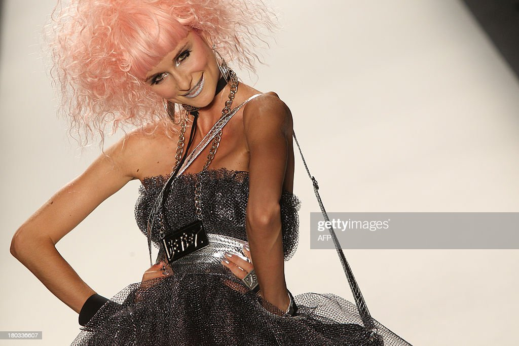 A model presents fashion by designer Betsey Johnson during the Mercedes-Benz Fashion Week Spring 2014 collection on September 11, 2013 in New York.