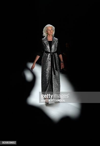 A model presents fashion of the label 'Minx by Eva Lutz' during the Berlin Fashion Week on January 20 2016 in Berlin The Berlin Fashion Week is...