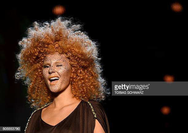 A model presents makeup by Maybelline New York MakeUp during a show prior to the Berlin Fashion Week on January 18 2016 The Berlin Fashion Week is...