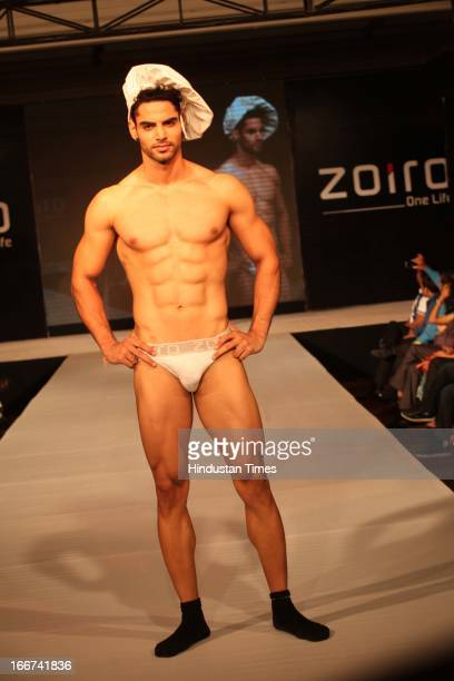 Model presents new range of Innerwear during fashion show organized at the launch of men's innerwear brand Zoiro on April 11 2013 in New Delhi India